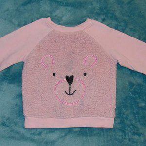 Other - pink textured bear design pull over sweatshirt